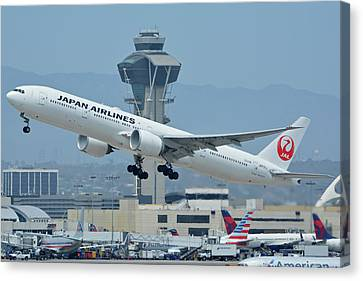 Canvas Print featuring the photograph Japan Airlines Boeing 777-346er Ja737j Los Angeles International Airport May 3 2016 by Brian Lockett