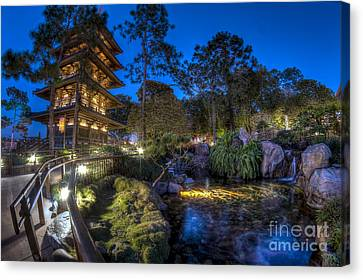 Japan Epcot Pavilion By Night. Canvas Print