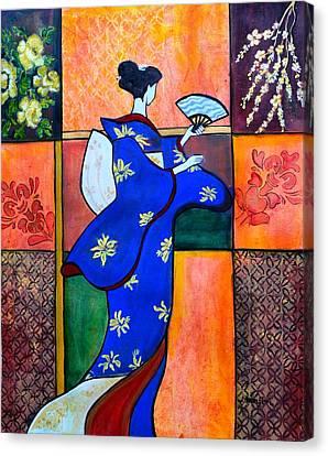 Japan Geisha Kimono Colorful Decorative Painting Ethnic Gift Decor Canvas Print