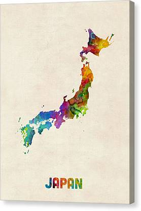 Japan Watercolor Map Canvas Print by Michael Tompsett