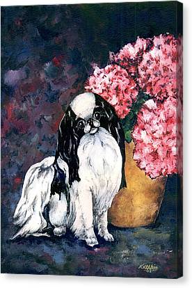 Japanese Chin And Hydrangeas Canvas Print by Kathleen Sepulveda
