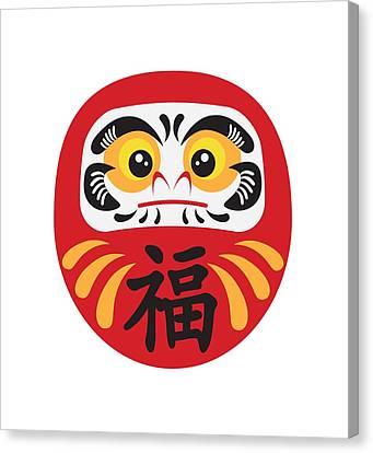Japanese Daruma Doll Illustration Canvas Print by Jit Lim