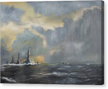 Japanese Fleet In Pacific Canvas Print by Vincent Alexander Booth