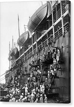 Japanese Fueling A Steamship Canvas Print by Underwood Archives