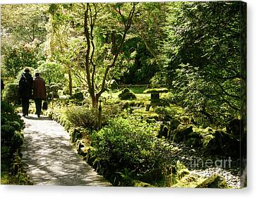 Japanese Garden At Butchart Gardens In Spring Canvas Print by Louise Heusinkveld