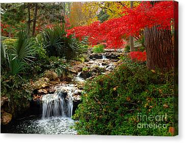 Japanese Garden Brook Canvas Print by Jon Holiday