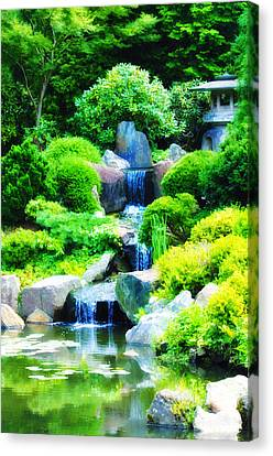 Japanese Garden Waterfall Canvas Print by Bill Cannon