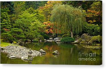 Autumn Leaf Canvas Print - Japanese Gardens by Mike Reid