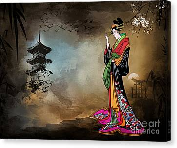 Canvas Print featuring the digital art Japanese Girl With A Landscape In The Background. by Andrzej Szczerski