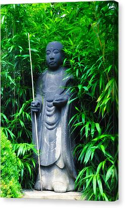 Bamboo House Canvas Print - Japanese House Monk Statue by Bill Cannon