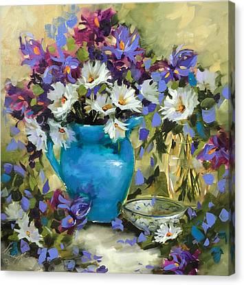 Japanese Iris And Daisies Canvas Print