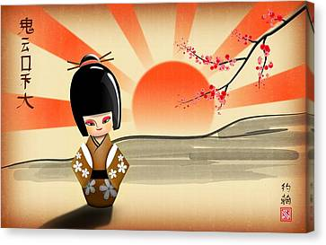 Geisha Girl Canvas Print - Japanese Kokeshi Doll by John Wills