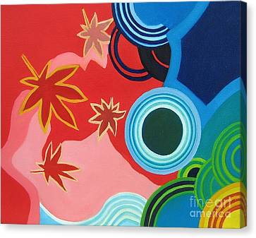 Japanese Maple On Water Canvas Print by Takayuki  Shimada