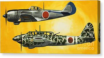 Japanese Nakajima Hayabusa And Kawasaki Hien Fighters Canvas Print by Wilf Hardy
