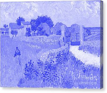 Japanese Porcelain Blue Farmhouse In Provence - Vincent Van Gogh Canvas Print