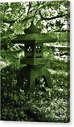 Ishidoro Canvas Print - Japanese Stone Lantern In Green by Craig Wood