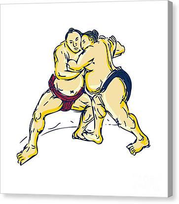 Japanese Sumo Wrestler Wrestling Drawing Canvas Print by Aloysius Patrimonio