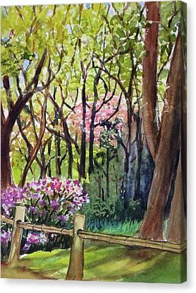 Bamboo Fence Canvas Print - Japanese Tea Garden by Karen Coggeshall