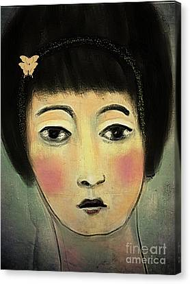 Canvas Print featuring the digital art Japanese Woman With Butterflies by Alexis Rotella