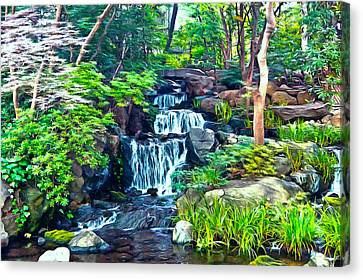 Japanese Waterfall Garden Canvas Print by Scott Carruthers