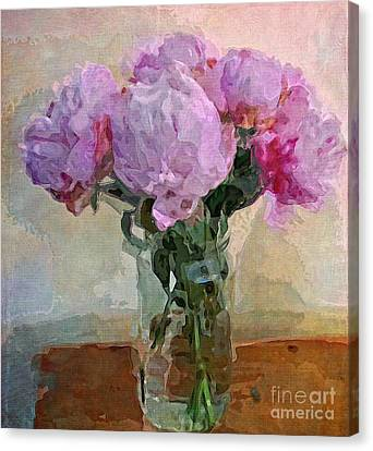 Canvas Print featuring the digital art Jar Of Peonies by Alexis Rotella