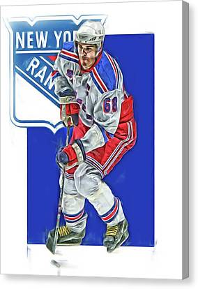 Jaromir Jagr New York Rangers Oil Art Series 5 Canvas Print by Joe Hamilton