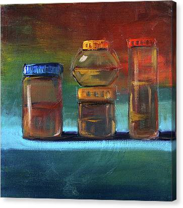 Canvas Print featuring the painting Jars Still Life Painting by Nancy Merkle