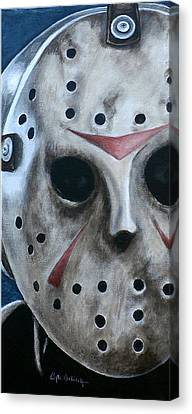 Canvas Print featuring the painting Jason Up Close And Personal  by Al  Molina