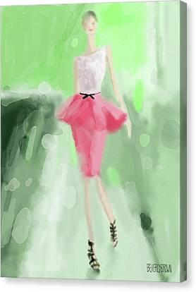 Jason Wu Peplum Skirt Fashion Illustration Canvas Print by Beverly Brown