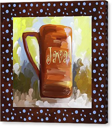 Java Coffee Cup With Blue Dots Canvas Print by Jai Johnson