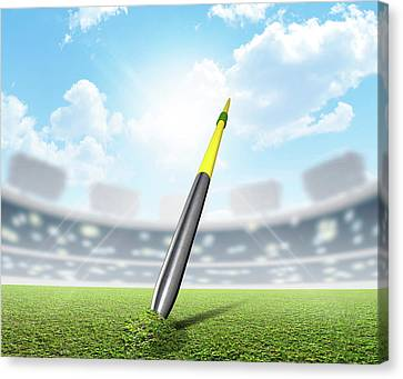 Javelin In Stadium And Green Turf Canvas Print