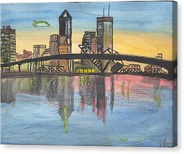 Florida Bridge Canvas Print - Jax Cityscape by JD Moores
