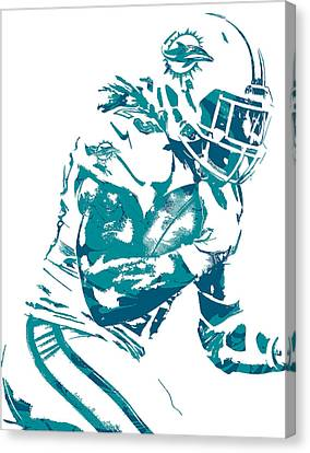 Dolphin Canvas Print - Jay Ajayi Miami Dolphins Pixel Art 4 by Joe Hamilton