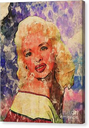 Jayne Mansfield Hollywood Actress And Pinup Canvas Print by Mary Bassett