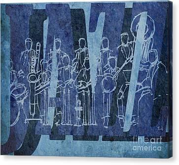 Jazz 30 Orchestra Blue Canvas Print by Pablo Franchi
