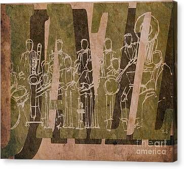 Jazz 30 Orchestra Brown Canvas Print by Pablo Franchi