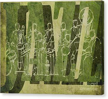 Jazz 30 Orchestra Green Canvas Print by Pablo Franchi