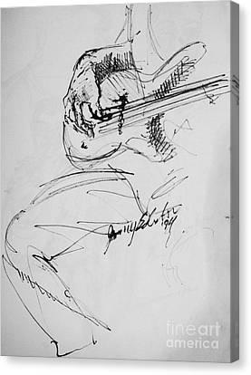 Jazz Bass Guitarist Canvas Print by Jamey Balester