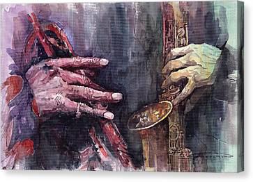 Jazz Batle Of Improvisation Canvas Print by Yuriy  Shevchuk