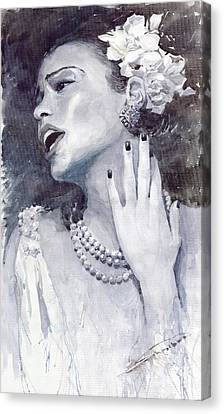 Jazz Billie Holiday Canvas Print by Yuriy  Shevchuk