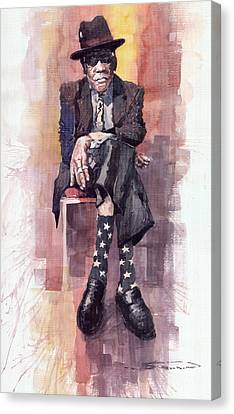Jazz Bluesman John Lee Hooker Canvas Print by Yuriy  Shevchuk
