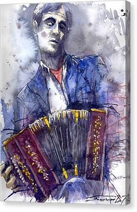 Jazz Concertina Player Canvas Print by Yuriy  Shevchuk