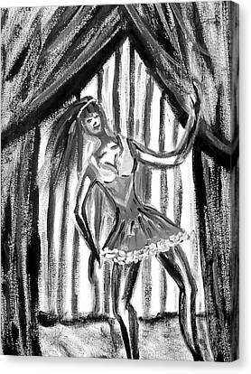 Jazz Dancer In Black  And White Canvas Print by BJ Abrams