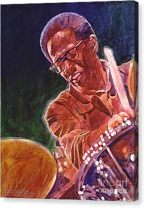Jazz Drummer Brian Blades Canvas Print by David Lloyd Glover