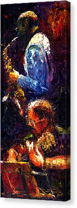 Jazz Duet Canvas Print by Yuriy  Shevchuk