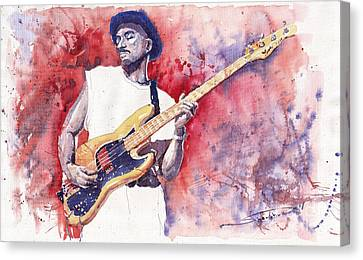 Jazz Guitarist Marcus Miller Red Canvas Print by Yuriy  Shevchuk