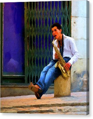 Canvas Print featuring the photograph Jazz In The Street by David Dehner