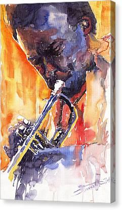 Jazz Miles Davis 9 Red Canvas Print by Yuriy  Shevchuk