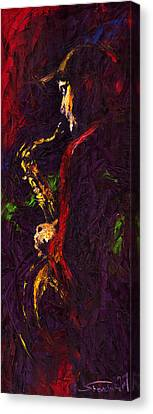 Jazz Red Saxophonist Canvas Print by Yuriy  Shevchuk