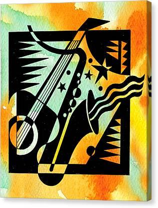 Music Inspired Art Canvas Print - Jazz Relaxation by Leon Zernitsky